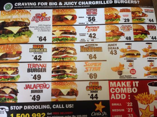 Menu Picture Of Carl S Jr Raya Darmo Surabaya Tripadvisor
