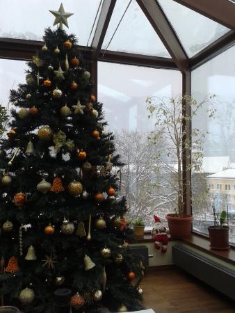Villa Prato: Christmas tree in the breakfast room