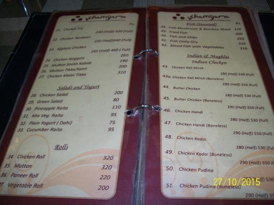 Menu  Picture Of Shamyana Restaurant Srinagar  Tripadvisor