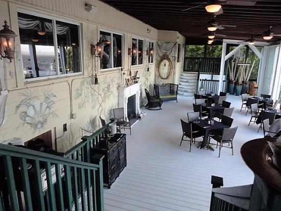 Malabar, FL: The fireplace dining area overlooking the Indian River
