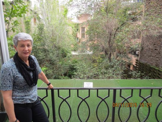 Lastarria Boutique Hotel: Leafy outlook from Room 9 balcony