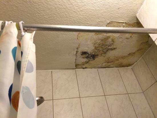 Dörenkamp Hotel: Bad auf dem Flur nicht abschliessbar, Schimmel an der Decke