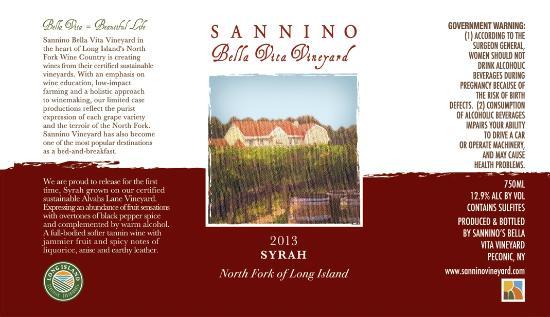 Peconic, Нью-Йорк: Sannino Wine Label