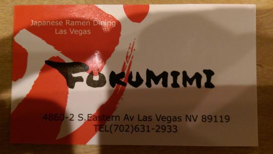 Business Card Picture Of Fukumimi Ramen Las Vegas Tripadvisor