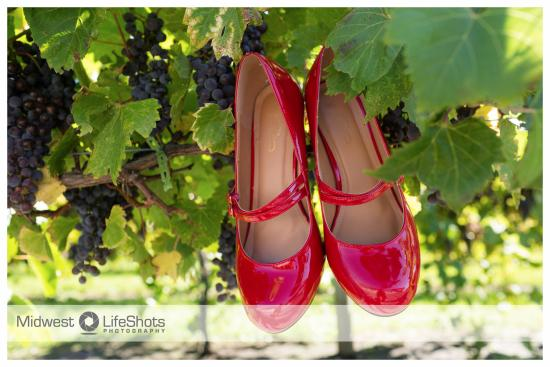 Spring Valley, MN: The brides shoes among the grapevines
