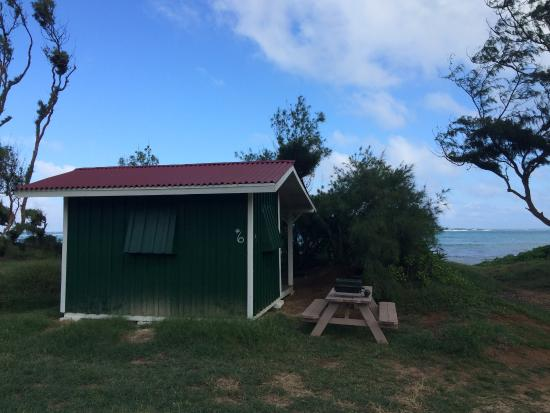 Picnic table by my cabin picture of malaekahana state for Cabins in oahu