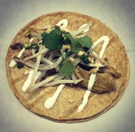 Elkhart Lake, WI: Spicy Thai Curry Chicken Taco with Bean Sprouts, Green Onion, Bean Sprouts and Coconut Crema
