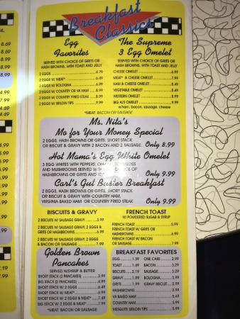 Menu Picture Of Mel S Classic Diner Pigeon Forge
