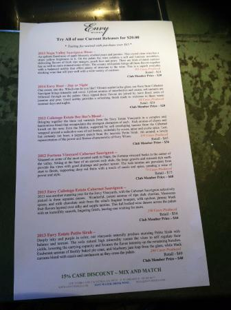 Envy Wines: Wine tasting list