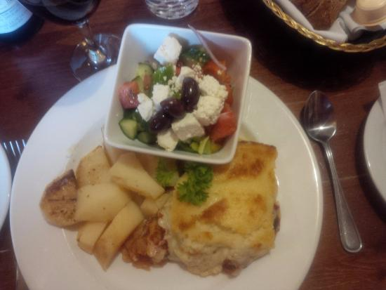Canadiana Restaurant & Lounge: Moussaka and Greek Salad