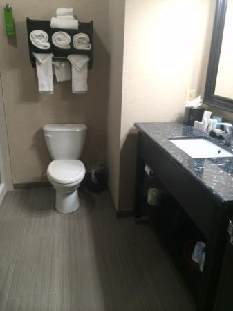 Hampton Inn & Suites Port Aransas : good size bathroom with huge shower