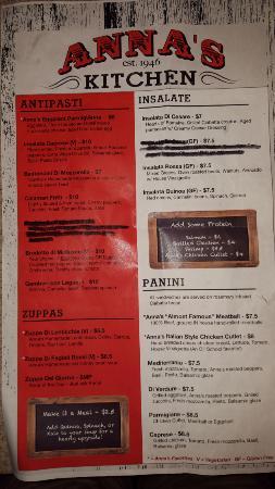 annas kitchen menu front - Annas Kitchen