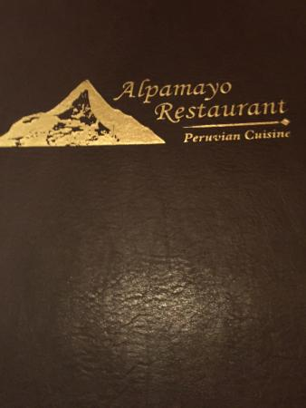 Menu Options, Meal choices, and Intaerior view of Alpamayo Peruvian Restaurant, Lee, MB