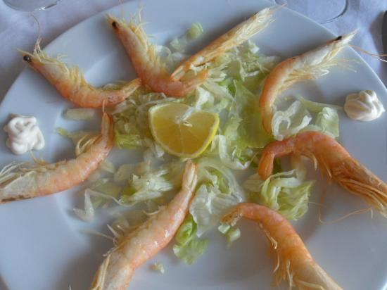 Hotel Ribera: Langoustines at the hotel restaurant