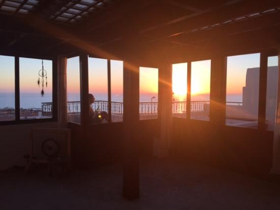 yoga practice room on top floor with ocean view