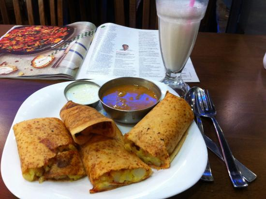 Mithaas vegetarian restaurant: potato and cheese dosa and plain lassi. Delicious!