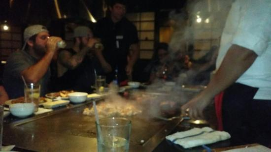 Kobe Japanese Steakhouse & Sushi Bar: There doing sake bomb