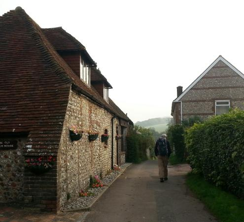 Ye Olde Smugglers Inne: Across from the Inn, walking out in the morning, heading for more of the South Downs Way