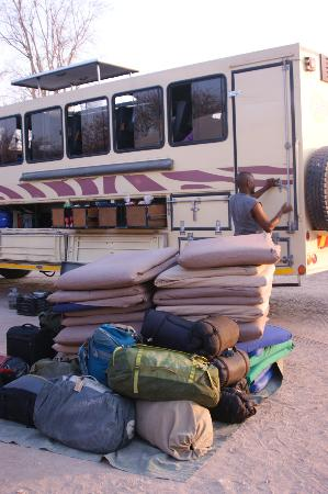 Karibu Safari: unloading the truck for camp