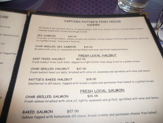 Menu picture of captain patties fish house homer for Fresh fish company menu