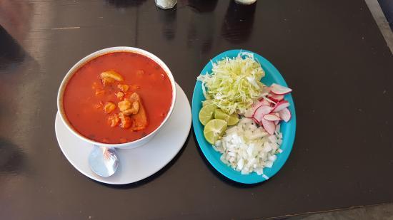 Alma's Enchiladas: Pozole (pork & hominy soup)