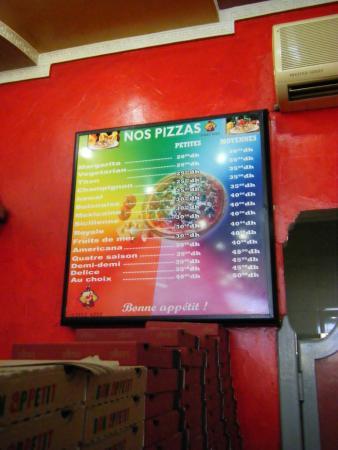 Chez Aziz : Menu for pizza