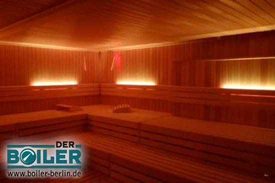 Der Boiler : Blick in die finnische Sauna