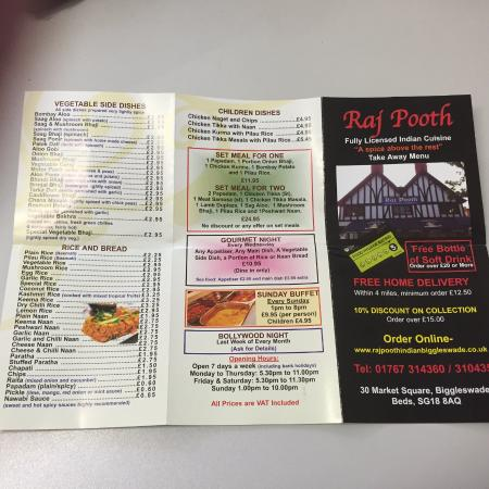 Rajpooth: Take Away Menu Side 1