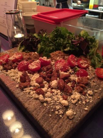 Ledge Rock Grille: Deconstructed salad, served with tongs, bowls and the most amazing dressing!