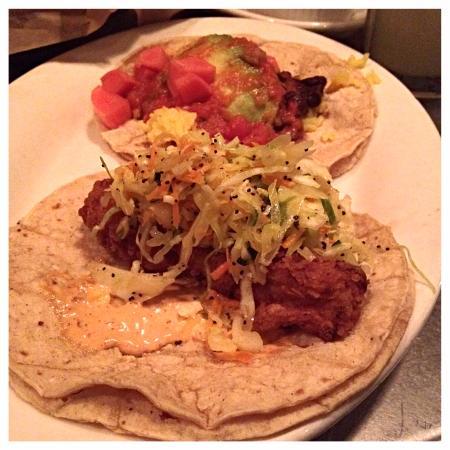 Holy Taco: fried mahi mahi and vegan tacos
