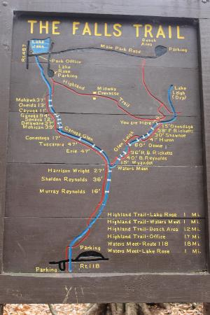 Trail Map And Falls List With Height Picture Of