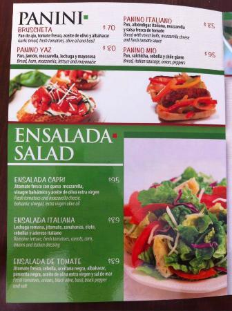 a varieties menu, un menu con variedades
