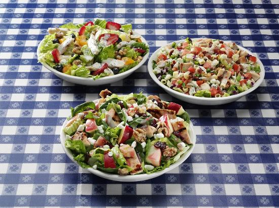 Portillo's Hot Dogs: Apple Walnut Chicken Salad, Chopped Salad, Poppyseed Fruit with Chicken Salad