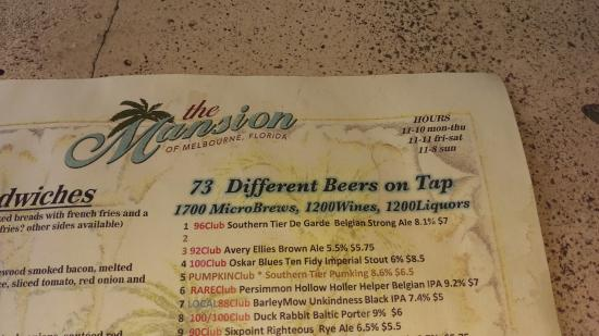 The Mansion: The menu of beer!