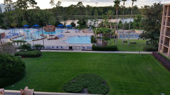View Of The Pool From The Top Floor Picture Of Wyndham Lake Buena Vista Disney Springs Resort