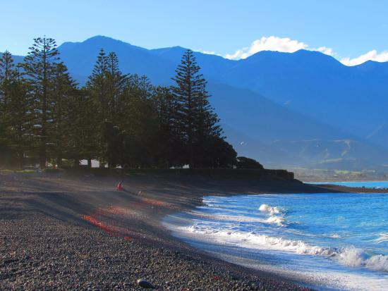 Albatross Backpacker Inn: Beautiful Kaikoura, this is the view from the beach right in front of the hostel