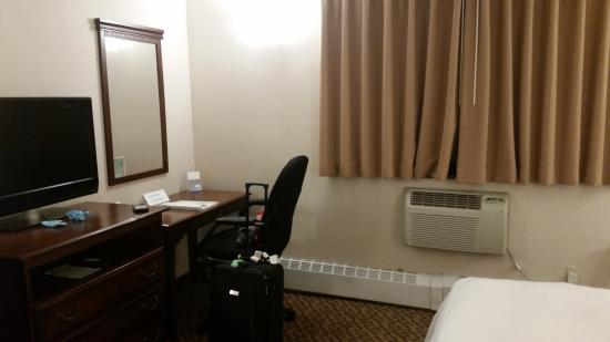 The Holland Hotel: Desk and AC unit