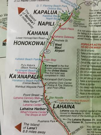 Map Of Kaanapali Area Including Location Of Westin Picture