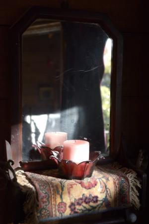 Tree Crop Farm: Vignette at Tree House. Antique candels...