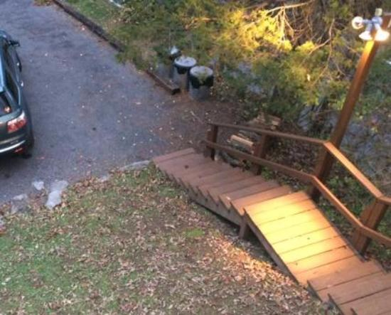 The Pines: Stairs and driveway