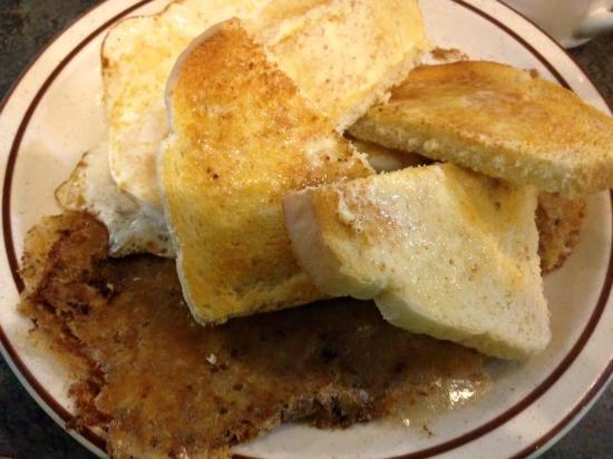 Bev's Cafe: Gritwurst, Eggs over Medium and Sourdough Toast