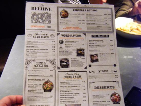 Food Menu  Picture Of The Beehive Crawley  Tripadvisor