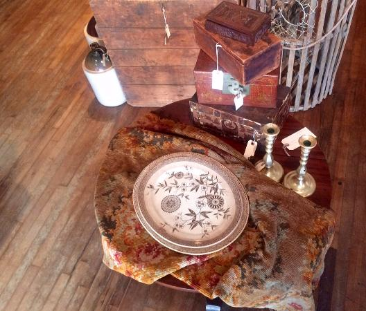 Bellows Falls, VT: Ironstone platter, brass candlesticks and old boxes
