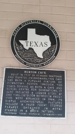 Historic plaque at Burton Cafe.