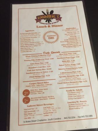 Hannibal S Kitchen Charleston Menu