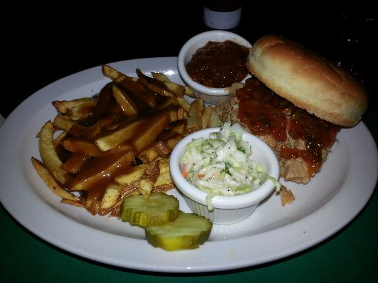 West Hazleton, PA: The Pines pork bar b q w from and gravy n coleslaw