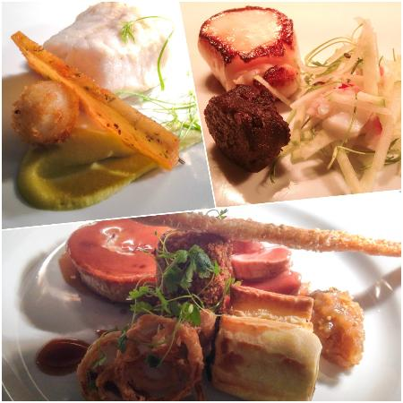 Cranbrook, UK: Starters - Top left: Pollock. Top Right: Hand-Dived Scallop. Mains - Below Centre: Pork Head To