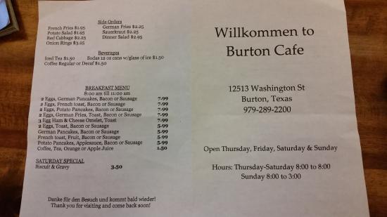Burton, تكساس: Burton Cafe Menu - Front