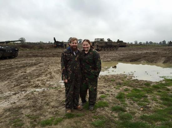 Helmdon, UK: Martin and I looking muddy!
