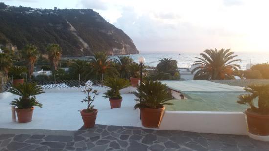 Semiramis Hotel de Charme Ischia: terrazzamenti bianchi calce con vasi cicadine e palme